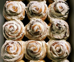 cinnamon rolls, yummy, and food image