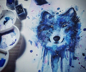 drawing, art, and blue image