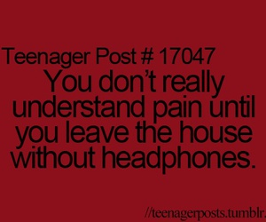 headphones, pain, and teenager post image