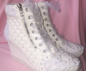 etsy, wedge sneakers, and white wedding shoes image