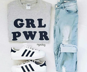 outfit, adidas, and girl power image
