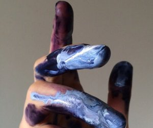 artist, blue, and fingers image