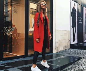 black, outfit, and red image