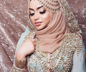 hijab, bride, and hijâbi image
