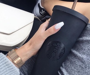starbucks, nails, and black image