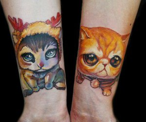 cats, cute, and colored tattoo image