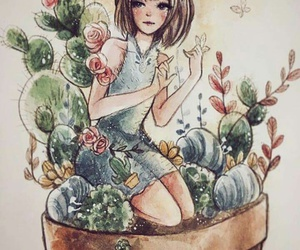 draw, nature, and girl image