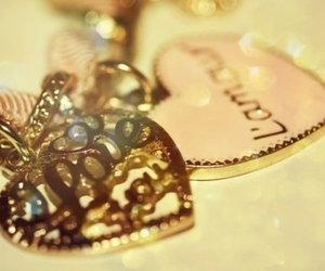 love, gold, and pink image