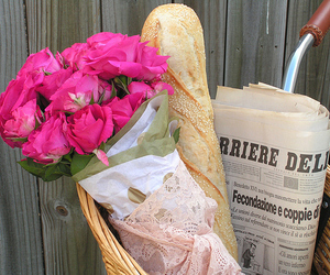 flowers, bread, and newspaper image