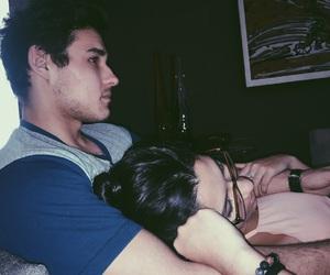boyfriend, sofa, and brunette image