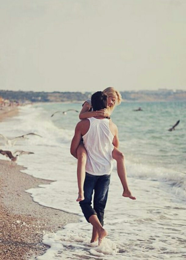 beach and couple+goals image
