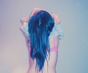 girl, blue hair, and hair image