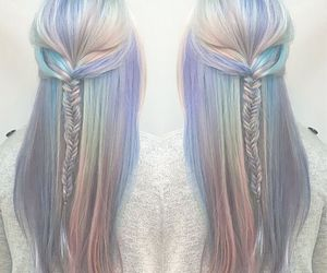 pastel hair and fish tail braid image