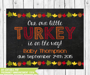 announcement, chalkboard, and turkey image