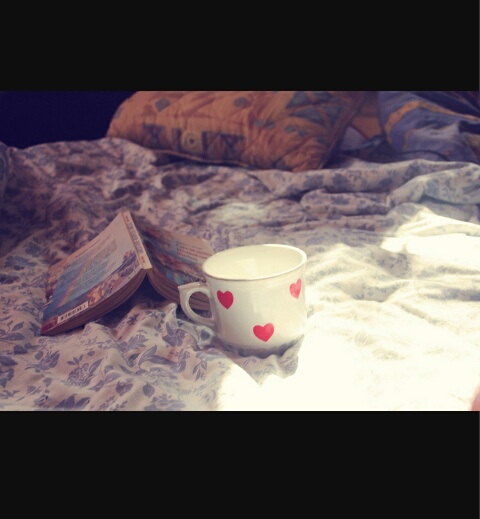 bed, book, and coffe image