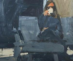 art, coffee, and girl image
