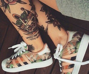 tattoo, adidas, and shoes image