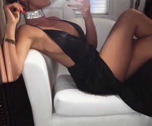 aesthetic, black dress, and lace image