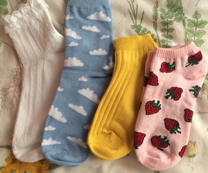 socks, aesthetic, and strawberry image