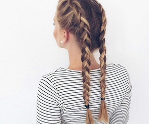 blond, plait, and hair image