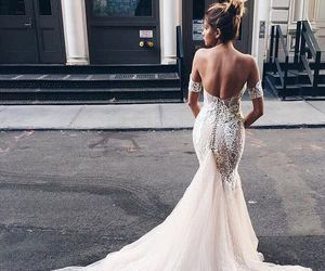 gown, lace, and wedding dress image
