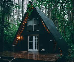 house, forest, and light image