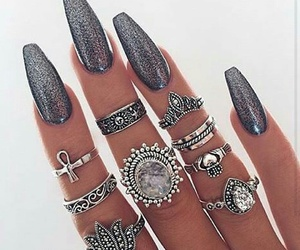 nails, rings, and glitter image