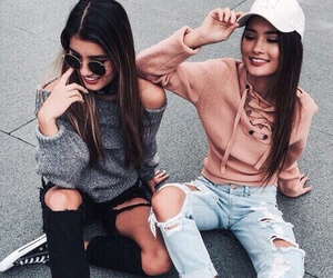 friendship, girls, and jeans image
