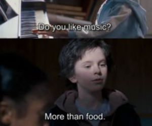 children, food, and music image