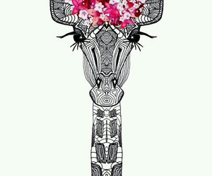 giraffe, wallpaper, and flowers image