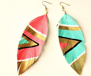 earrings, feather, and earings image