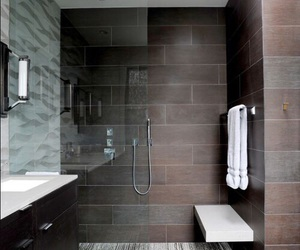 bathroom, brown, and shower image