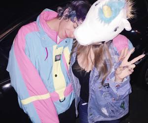 unicorn, couple, and pink image
