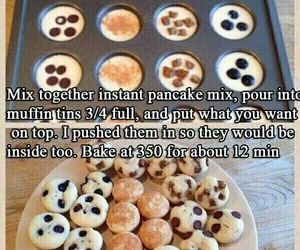 blueberries, pancake, and chocolate chips image