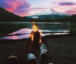 fire, sky, and mountain image
