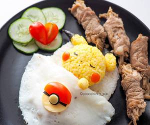 pikachu, rice, and food image
