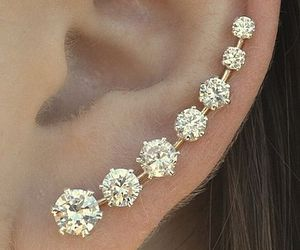 earrings, diamond, and ear image