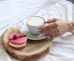 coffee, macaroon, and macaron image