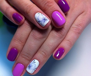 flower, manicure, and girl image