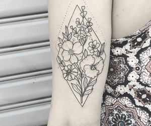 flower tattoo, inked, and ink image