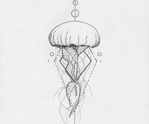 drawing, jellyfish, and tattoo image