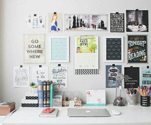 room, desk, and book image
