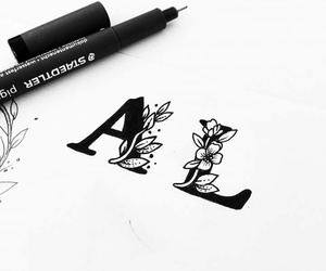 black, draw, and letras image