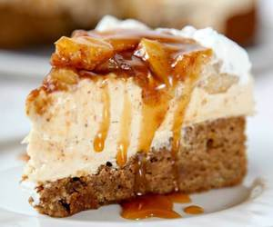 apple, caramel, and cheesecake image