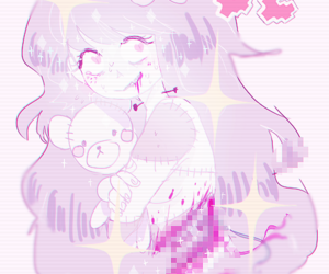 anime, gore, and pastel image