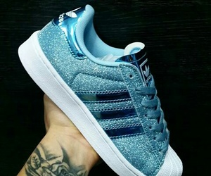adidas, blue, and glitters image
