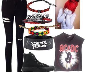 ac dc, black jeans, and converse image