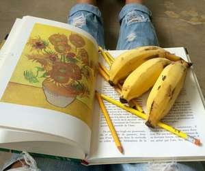 bananas, book, and flowes image