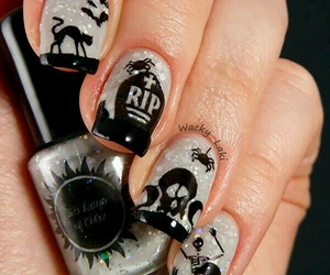 bats, skull, and nail art image