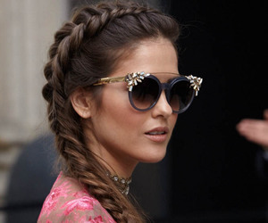 hairstyle, style, and sunglasses image